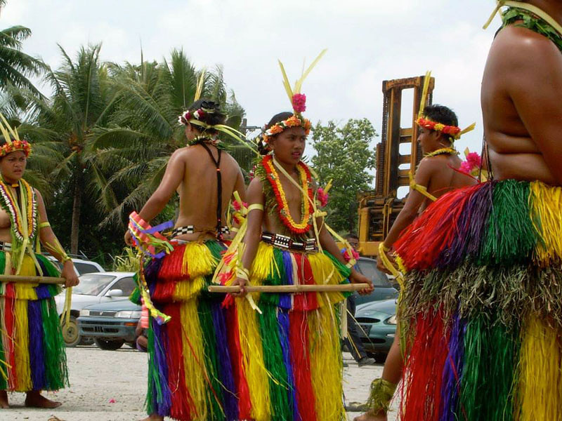 "On Yap, a bamboo stick dance from Rull to thank the Chinese for the gift of the field-trip ship ""Hapilmohol"""