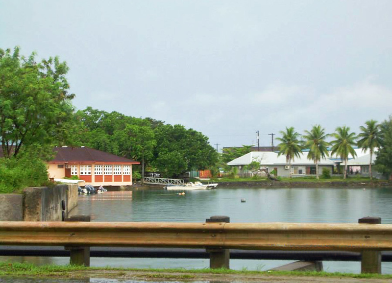 View from Ganir Bridge in Colonia: Marina Restaurant on the left; Library on the right, with the Community Center behind it, 2011