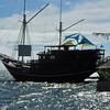 "The ""Mnuw,"" the Manta Ray Bay Hotel's schooner restaurant"